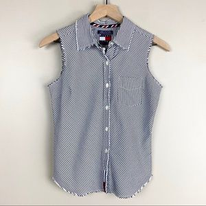 Tommy Hilfiger Striped Sleeveless Button Down Top
